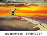 the small drone and plane on a... | Shutterstock . vector #344843387