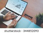 top view of double exposure of... | Shutterstock . vector #344852093
