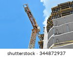 crane and building construction ... | Shutterstock . vector #344872937