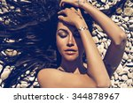 outdoor fashion portrait of... | Shutterstock . vector #344878967