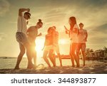friends funny dance on the... | Shutterstock . vector #344893877
