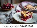 homemade cherry pie on rustic... | Shutterstock . vector #344899967