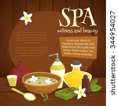 spa beauty elements wood... | Shutterstock .eps vector #344954027