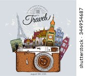 travel photo background with... | Shutterstock .eps vector #344954687