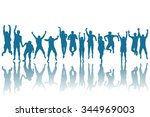 silhouettes of happy people... | Shutterstock .eps vector #344969003