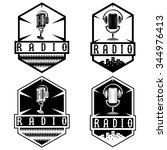 vintage labels of radio with... | Shutterstock .eps vector #344976413
