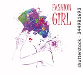 fashion girl in sketch style.... | Shutterstock .eps vector #344981693