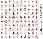 christmas icons and elements... | Shutterstock .eps vector #344990093