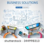 business solutions concept ... | Shutterstock .eps vector #344998313