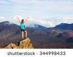 young happy woman hiker with... | Shutterstock . vector #344998433