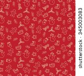 christmas seamless pattern with ... | Shutterstock .eps vector #345003083