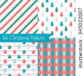 set of seamless christmas... | Shutterstock .eps vector #345022007