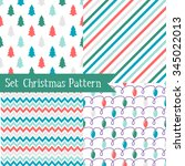 set of seamless christmas... | Shutterstock .eps vector #345022013