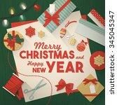 preparing for christmas card ... | Shutterstock .eps vector #345045347
