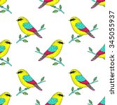 vector cute colorful canary... | Shutterstock .eps vector #345055937