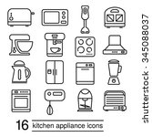 vector kitchen appliance icons | Shutterstock .eps vector #345088037
