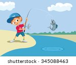 Boy Fishing In A River. Vector...