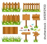 wooden fence with grass and... | Shutterstock .eps vector #345092933