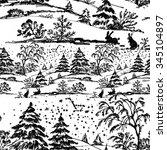 watercolor winter coniferous... | Shutterstock .eps vector #345104897