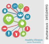 healthy lifestyle background.... | Shutterstock .eps vector #345104993