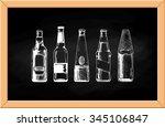vector set of beer bottles on... | Shutterstock .eps vector #345106847