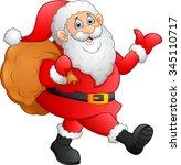 santa waving and holding sack   Shutterstock .eps vector #345110717