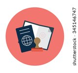 passport colored vector icon  | Shutterstock .eps vector #345146747