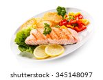 grilled salmon and vegetables... | Shutterstock . vector #345148097