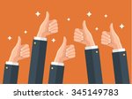many thumbs up. social network... | Shutterstock .eps vector #345149783