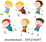 boys running fast and slow... | Shutterstock .eps vector #345154697