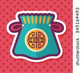 chinese new year flat icon with ... | Shutterstock .eps vector #345169493