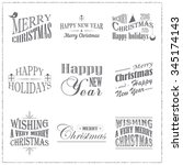 set of christmas typographic... | Shutterstock .eps vector #345174143