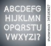white glowing neon alphabet.... | Shutterstock .eps vector #345183827