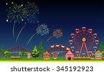 amusement park scene at night... | Shutterstock .eps vector #345192923