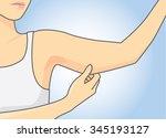 woman pull skin upper arm area... | Shutterstock .eps vector #345193127