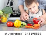 food  family  cooking and... | Shutterstock . vector #345195893