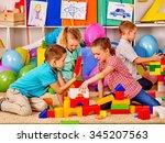 group children build blocks on... | Shutterstock . vector #345207563