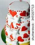 red white three tiered wedding...   Shutterstock . vector #345207713