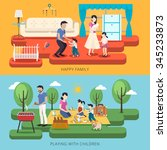 adorable happy family time... | Shutterstock .eps vector #345233873