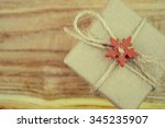vintage gift box on old wooden... | Shutterstock . vector #345235907