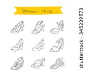 women's shoes. vector icons on... | Shutterstock .eps vector #345239573