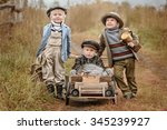three little boys racers... | Shutterstock . vector #345239927