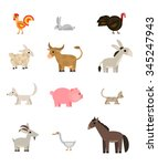 farm animals and pets set on... | Shutterstock .eps vector #345247943