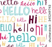 hello and hi typography pattern.... | Shutterstock .eps vector #345249743