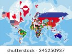political map of the world with ...   Shutterstock .eps vector #345250937