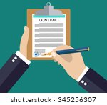 man signs document stamped... | Shutterstock .eps vector #345256307