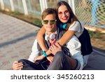 close up summer portrait of... | Shutterstock . vector #345260213
