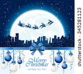 christmas decorations with blue ... | Shutterstock .eps vector #345281123