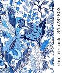 floral vector seamless pattern | Shutterstock .eps vector #345282803