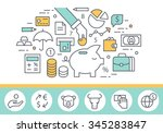 Banking service and finance concept illustration, thin line style, flat design | Shutterstock vector #345283847